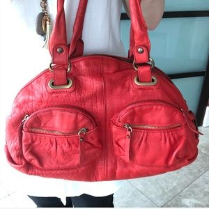 Paolo Masi Red Leather Hobo Bag
